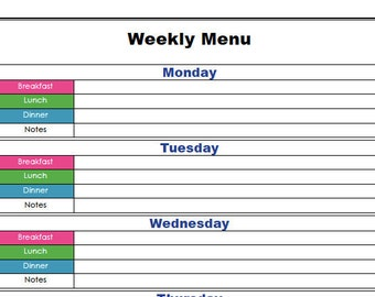 Customized Weekly Menu
