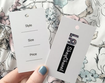 Custom Logo Business SWING, CLOTHING, PRODUCT Tags / Labels - Product Packaging with your company branding // One hole for easy attachment