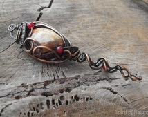 Copper wire and jasper pendant necklace  Hammered wire pendant Copper heady pendant Skeleton key necklace