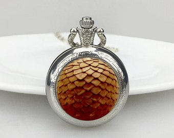 Orange dragon scale Pocket Watch, Dragon scale Necklace,  Dragon Necklace, Dragon, Geekery pocket watch, Valentine's Day gift,gift for him
