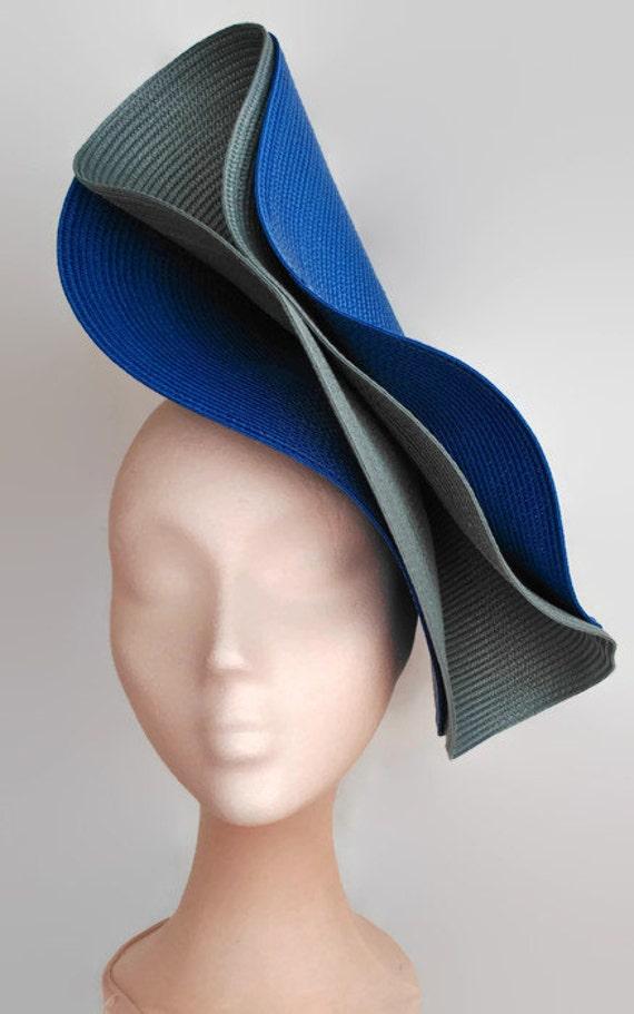 blue and grey fascinator royal blue wedding hatgray ascot. Black Bedroom Furniture Sets. Home Design Ideas