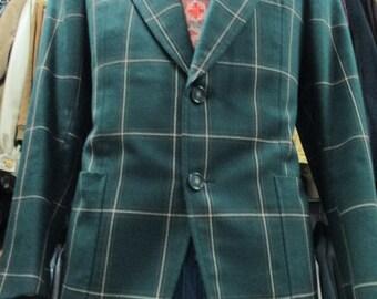 Giacca uomo a quadri verde anni 70/ Plaid green jacket