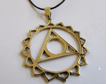 Throat Chakra brass pendant On Wax Cord Yoga Jewellery Om Ohm Aum  Adjustable Unisex Free UK Shipping + Gift Bag CH3