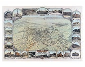 """Bakersfield California in 1901 Panoramic Bird's Eye View Map by N.J. Stone Company 22x16"""" Reproduction"""