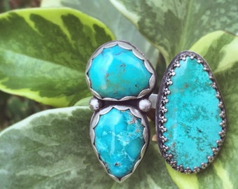Turquoise Two-Finger Cluster Ring