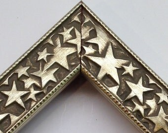 Silver Stars Picture Frame, 3x5, 4x6, 5x7, 8x10, 11x14 - Hollywood Picture Frame - Patriotic Picture Frame - Antiqued Silver Stars Frame