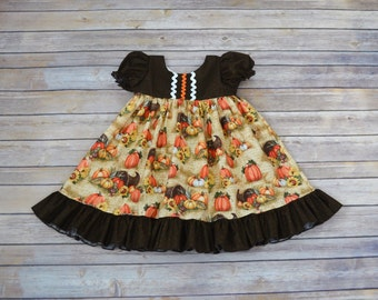 Girls Fall Dress, Thanksgiving Dress, Autumn Dress, Girls Boutique, Thanksgiving Print, 4T One of a Kind Ready to Ship