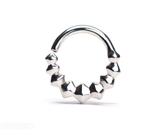 Geometric Septum Ring Nose Ring Body Jewelry Sterling Silver Bohemian Fashion Indian Style 14g 16g - SE038R SS