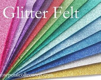 "GLITTER Wool Felt Sheets - Glitter Wool Felt - GLITTER FELT - Available in 2 sizes 20x30cm (approx 8x12"") or 20x15cm (approx 8x6"")"