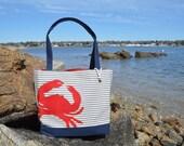 Anchor Canvas Bag, Nautical Pinstripe Canvas Handbag with Red Crab, Lining, Canvas Tote