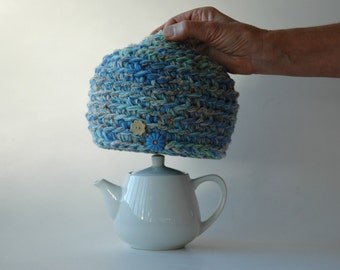 Little wool tea cosy for a two cup teapot - blues and greens - ready to ship