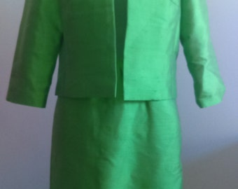 Vintage Green Silk Suitdress by Hudson's, the Shops on Woodward.  Gorgeous!