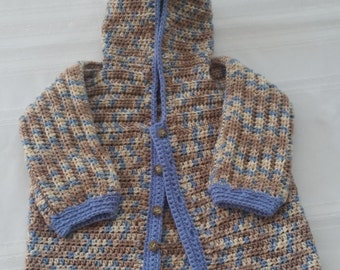 hooded crochet sweater, crochet childs cardigan,blue brown sweater,crochet brown sweater,childs hooded cardigan,crochet blue sweater,sweater