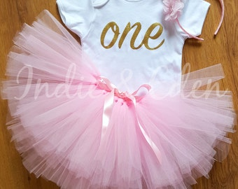Baby girls 1st Birthday tutu birthday pink personalised gold silver one set flower headband photo prop cake smash
