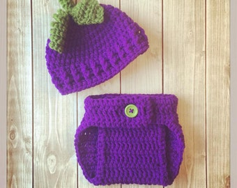 Baby Grape Hat and Diaper Cover Set ~ Newborn ~ Photo Prop ~ Shower Gift ~ Girl Boy ~ Crochet Knit ~ Pictures ~ Costume
