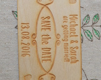 Getting Married! Wooden Engraved Personalised SAVE THE DATE Fridge Magnets