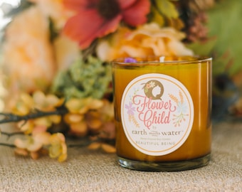 Beautiful Being - Flower Child Collection - 11 oz Soy Candle - Gardenia - Inner Beauty - Amber Jar - Gifts For Her - Gifts Under 20 - Floral