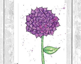 "NOTECARD: Whimsical Purple Dahlia, Purple Flower 4.25"" x 5.5"" A2 Greeting Card, Gift for Her, Gift for Friend, Mom gift, Flower Lover"