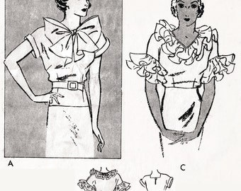 1930s 30s Vintage Blouse Sewing Pattern evening or day art deco ruffles bow collar bust 34 34 repro