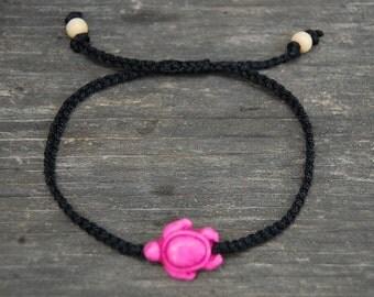 Pink Turtle Anklet,Pink Turtle Bracelet,Adjustable Drawstring,Bohemian Anklet,Gypsy Anklet,Summer Anklet,Woman,Ladies Anklet,Girls Anklet