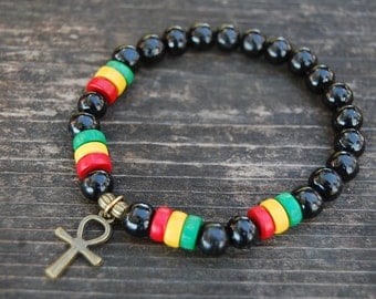 Ankh Cross Bracelet,Rasta Bracelet,8mm Wood Beads,Egyptian Ankh Cross,Key of Nile,Key of Life,Crux Ansata,Man,Woman,Ankh Cross Bracelet