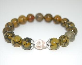 Skull Bracelet,Dragon Eye Veins Bracelet, 8mm Gemstone Beads, Elastic Bracelet Fit All,Stretch Bracelet, Men,Women,Pray,Peace