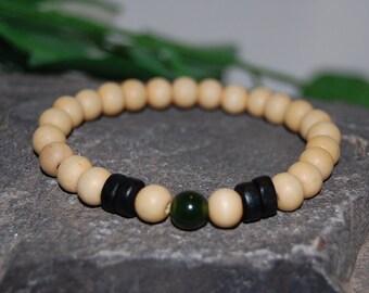 Men's Spirituality, Prayer 10mm Wood Beads, Good Luck Bracelet, Mens Yoga Bracelet, Protection, Meditation, Gift for Him , Stretch, Surfer