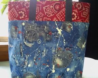 Girls Denium Look Tote Teens Library Tote Bag