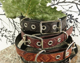 """Handmade Leather Collar ~ """"3PD Dog Collar"""" ~ Chain-Links Tooled/Stamped 22"""""""