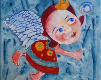 Whimsical painting, angel wall art, Original art, Folk Art, Primitives, watercolor, painting on canvas, abstract angel, canvas art
