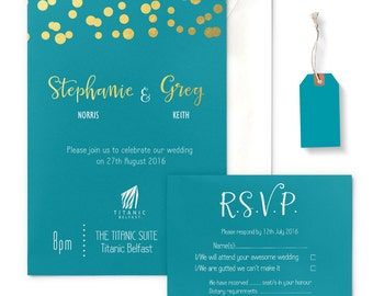 Teal Blue and Gold Glitter Lights Wedding Invitation with envelope, gold-foiled, RSVP card optional