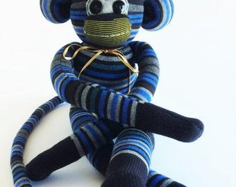 Sock Monkey-Blue, Grey, Black-Striped-Handmade-Monkey-Plushie-Stuffed-Cuddly-Plush-Animal
