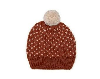 Fair Isle Knit Hat w/ Pom