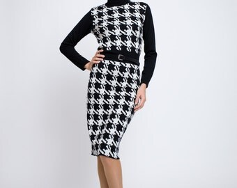 LINA Houndstooth merino wool kntted dress