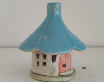 Handmade stoneware blue roof fairy house incense holder