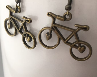 Bike Earrings - Antique Gold Bike Earrings - Hipster Earrings - Bicycle Earrings - Biker Jewelry - Bicycle Jewelry - Bike Jewelry