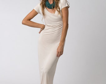 Cream White Dress, Boho Maxi Dress, Short Sleeve Dress, Summer Dress, Boho Clothing, Summer Maxi Dress