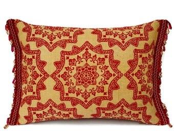 """Burlap Throw Pillow - Red Burlap Pillow - Red Pillow - Burlap Accent Pillow - Red Burlap Cushion - Flower Pillow - Christmas Decor - 12""""x16"""""""