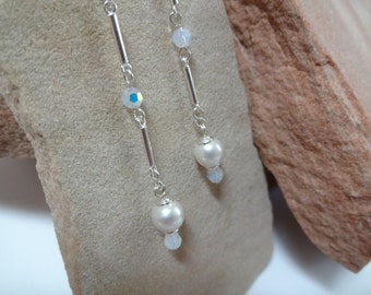 Sterling Silver and Swarovski Pearl and Crystal Drop Earrings