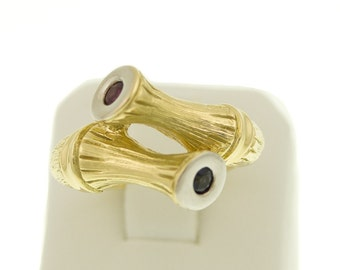 Heavy RING in the bamboo design with Ruby & Sapphire, 585/14 KT yellow gold,