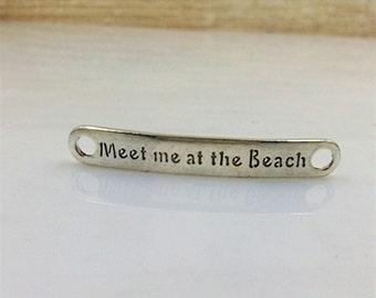 7x48mm antique silver letters charm pendants connectors  Meet me at the Beach charm pendants MT0280