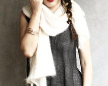 Angora Wool Ivory Scarf, Wide Scarf, Bridal Stole, Wedding Wrap, Wedding Shawl, Mohair, Handcrafted, Handmade, Fluffy