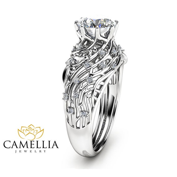 unique moissanite engagement ring filigree 14k white gold