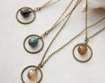 """Antique Brass Round Vintage Bead 17"""" Necklace, Layering Necklace, Bohemian Jewelry, Bridesmaid Gift Boho Wedding, Antique Glass Bead"""