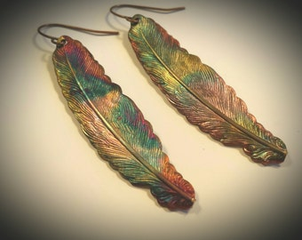 Flamed Jewelry, Colorful Jewelry, Audubon Jewelry, Torched Copper, Feather Jewelry, Flame Torched Jewelry, Copper Earrings, Beach Jewelry