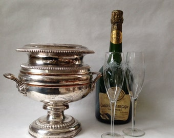 Sheffield champagne bucket with collar and insulator, huge and fabulous