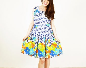 FLORAL TEA DRESS, Romantic dress, summer dress, day dress, retro dress, polka dot dress, mad men dress,  floral dresss, retro, size xs s m