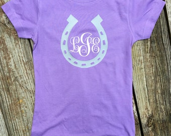Monogram shirt, horseshoe shirt, custom shirt, personalized shirt, girls shirt