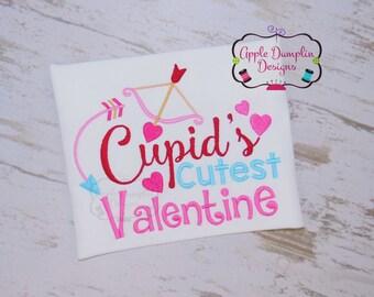 Cupid's Cutest Valentine Embroidery Design, Valentine Embroidery Design, Applique Design, Boy, Girl, Heart, Arrow 4x4, 5x7, 6x10