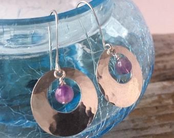 Amethyst earrings;hammered round sterling silver drop earrings;purple amethyst natural gemstone